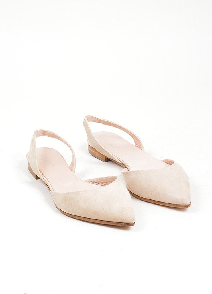 ff32a11af09 Nude Giambattista Valli Suede Pointed Slingback Flats | My Style in ...