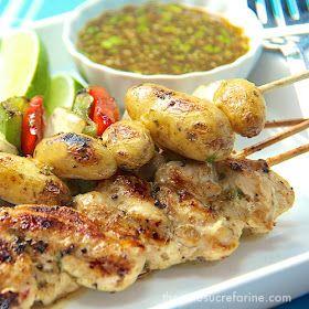 The Café Sucré Farine: Grilled Chicken, Potato & Pepper Kebabs w/ Honey-Cumin Glaze & Drizzle