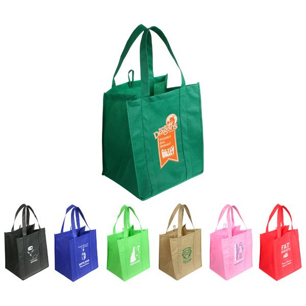 "Jumbo lightweight shopping bag with extensive space. Made from sturdy 100GSM premium quality non-woven polypropylene. Features reinforced handles and 10"" gusset."