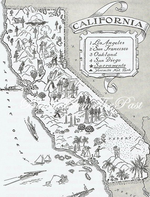 Last one vintage map of california whimsical adorable fun vintage map of california whimsical adorable fun beautifully illustrated perfect for framing los angeles san francisco on etsy publicscrutiny Image collections