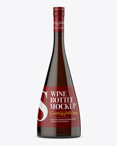 Download Dark Amber Glass Wine Bottle Mockup in Bottle Mockups on ...