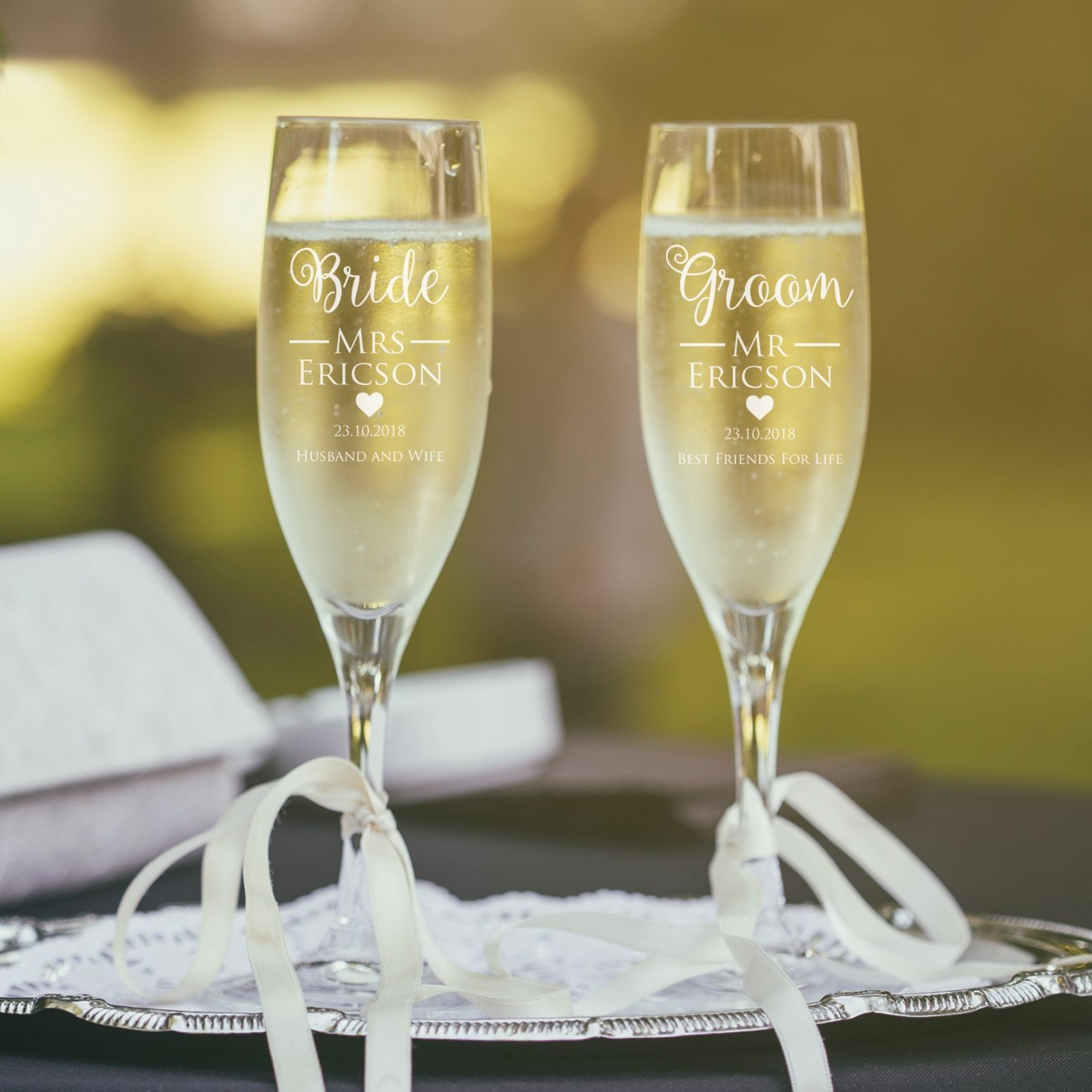 Engraved his and hers gift boxed champagne glass set