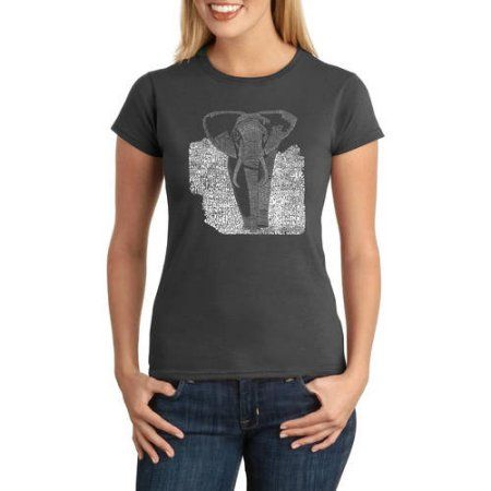 Los Angeles Pop Art Juniors Animals Word Art Graphic Tee, Size: Large, Gray