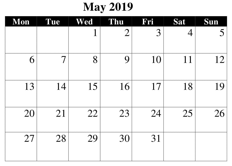 May Printable Table 2019 Calendar 2019 Calendar Calendar