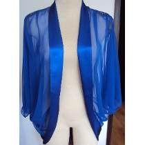 Bluzon Azul Rey Con Adornos En Seda Y Pedreria En Los Ho