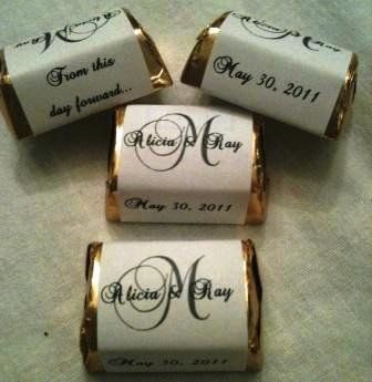 Bride and Groom names go on top of the candy with a monogram initial and then on one side of the chocolate is a special saying and the other side ...  $8.99