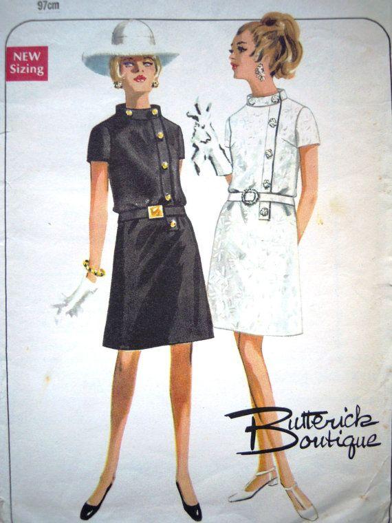 Vintage 1960s Butterick Mini Dress Sewing Pattern B 38   Patrones