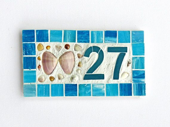 Outdoor House Number Plaque Small 1 Or 2 Digit Mosaic Beach Mailbox Ceramic Tile Shell