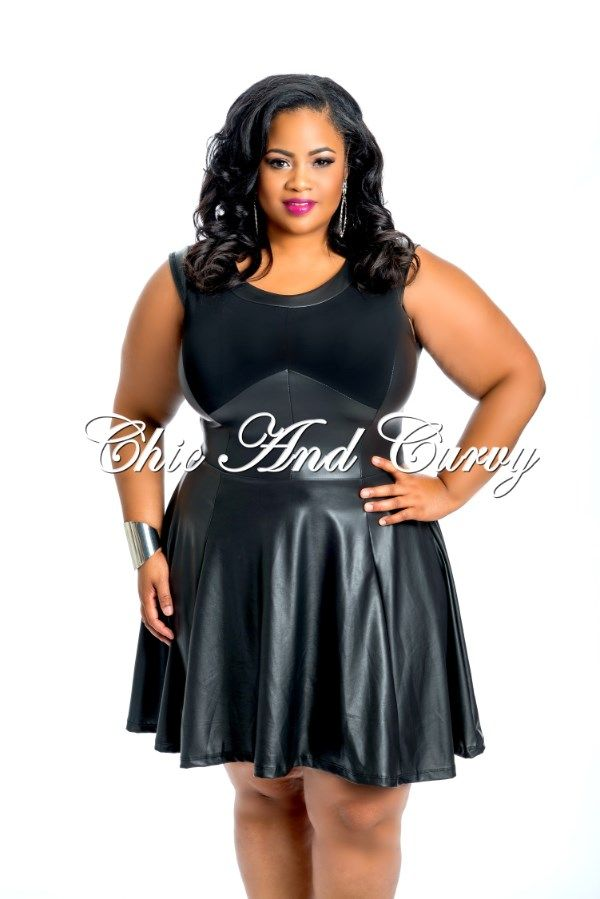 New Arrival New Plus Size Faux Leather Skater Dress Available At