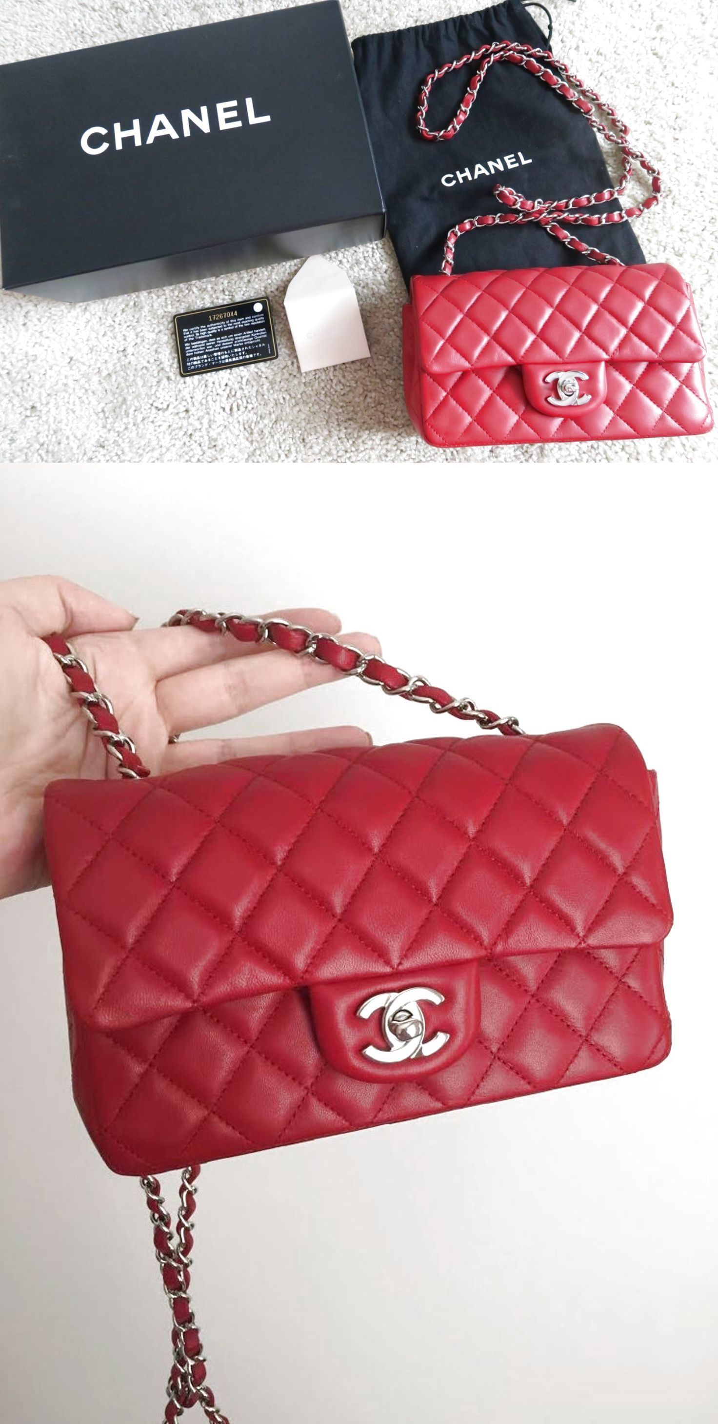 8c78d8eb0166 CHANEL Red Lambskin Classic Mini Flap Bag! Rectangle Silver Chain! SOLD OUT  Auth  3000.0