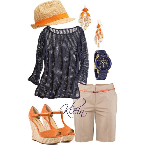 Minus the hat.  Maybe replace it with something else? Orange and navy, created by stacy-klein on Polyvore