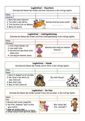 8 einfache Logikrätsel für jüngere Kinder. Lösung ist dabei. - DaF ...