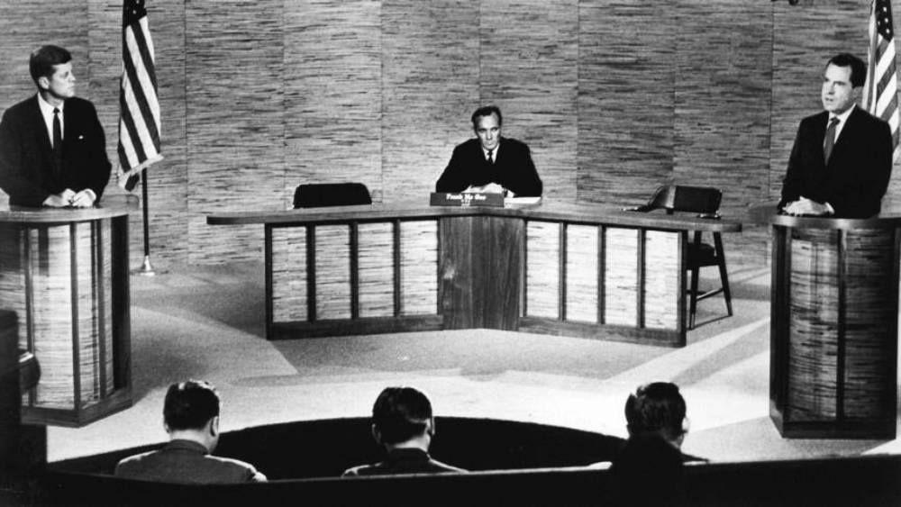 1960 - Presidential debate between JFK and Richard Nixon.