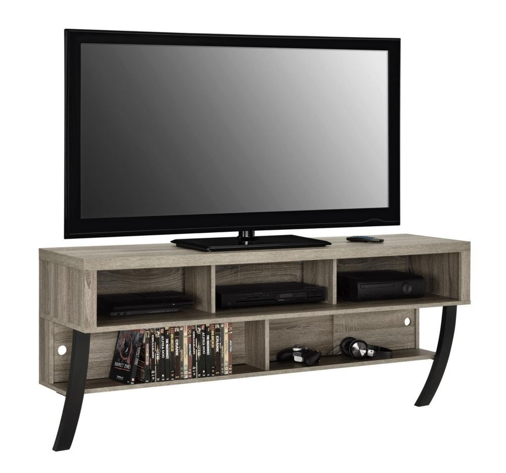 Asher Wall Mounted 135 Lb Capacity 5 Shelf Tv Stand For 65 Inch Tvs In Sonoma Oak Products Wall Mount Tv Stand Wall Mounted Tv Mounted Tv