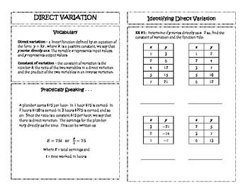 Algebra 2: Direct Variation | Direct/Inverse | Pinterest | Algebra ...