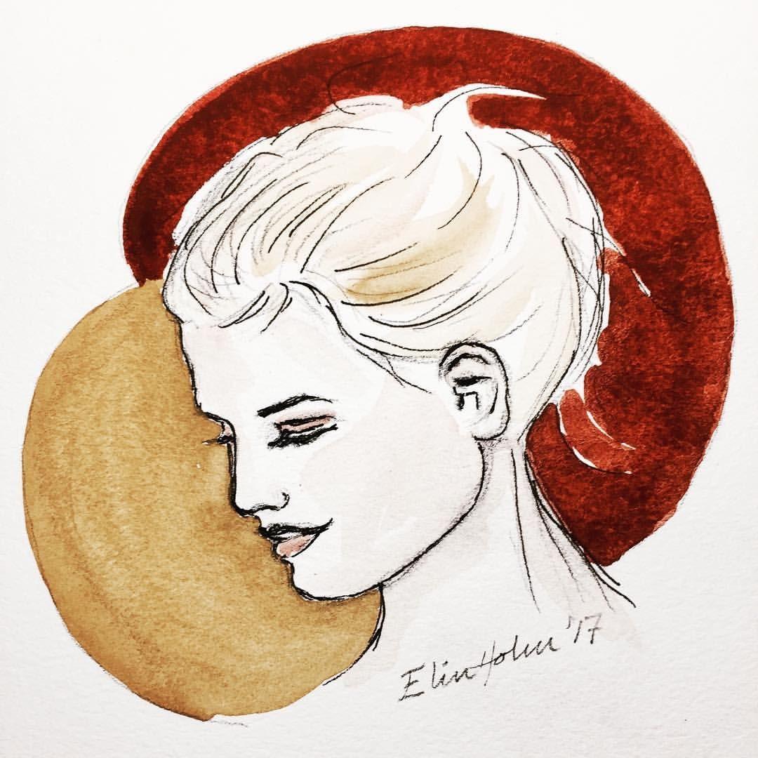 "11 likerklikk, 1 kommentarer – Elin Holm (@elinartholm) på Instagram: ""ElinArt  January 2017 (watercolors) #watercolor #akvarell #aquarelle #face #figurativeart #tusj…"""