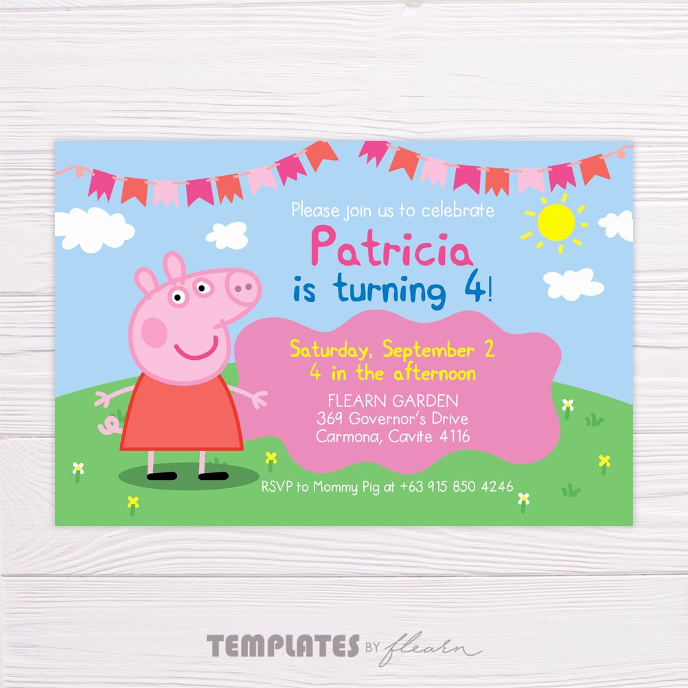 Peppa Pig Invitation Template Beautiful Peppa Pig Invitation Flearn Ph Pig Birthday Invitations Peppa Pig Invitations Pig Invitation