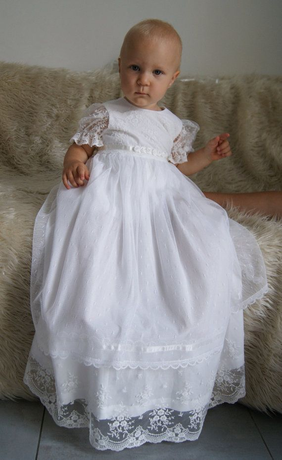 PAULINE Christening Gown , Ivory Lace Baptism Gown, Baptism dress ...