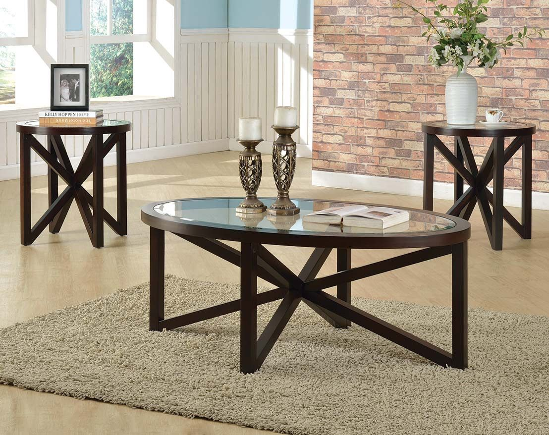 Espresso Finish Glass Coffee And End Tables Cole 3 Piece Table