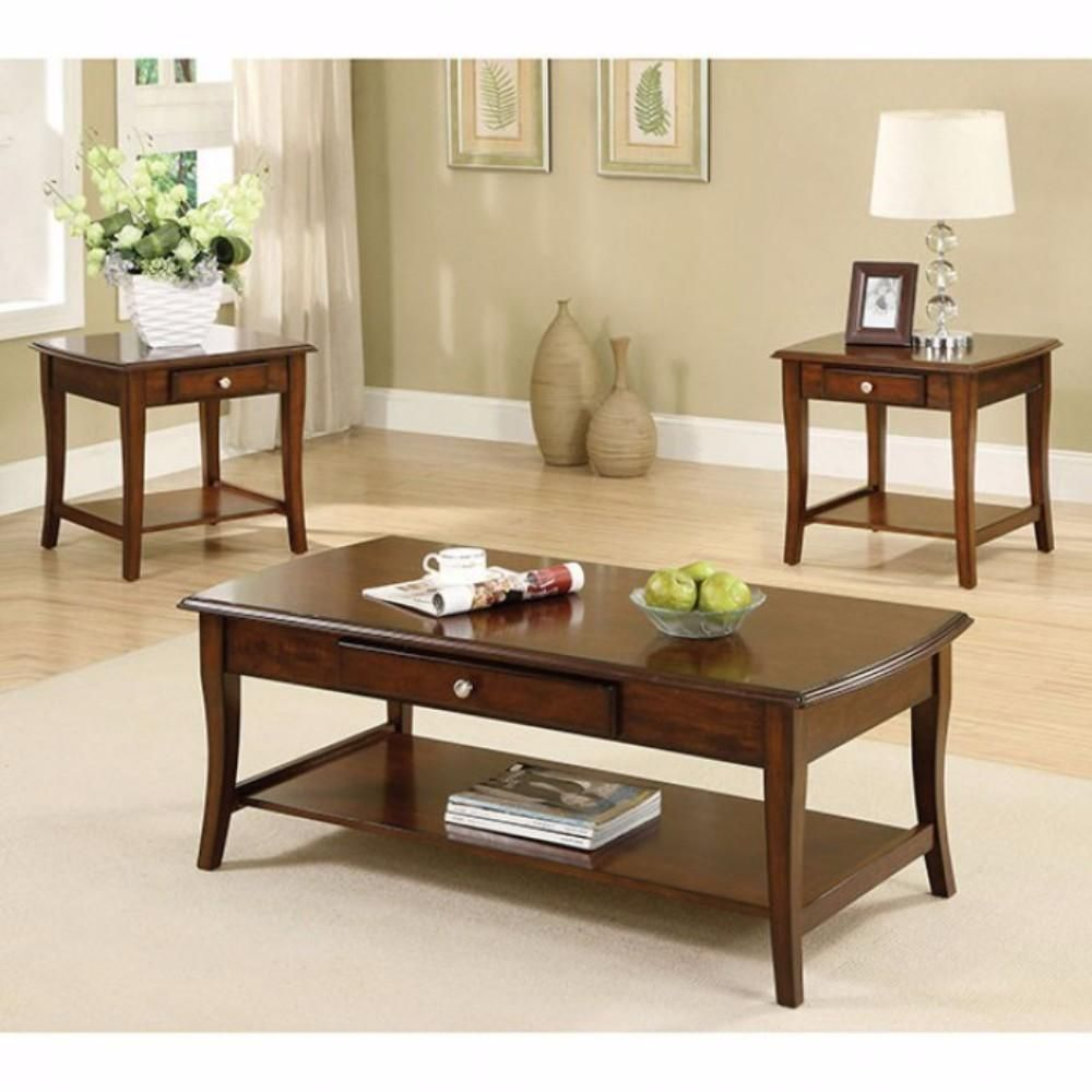 This Coffee and 2 End tables set provides the perfect setting for coffee and conversations. Delightfully innovative, their slim drawer pulls out smoothly and features enough space to facilitate you in keeping your necessary stuff handy. It is design with sheer perfection and reflects beautifying craftsmanship. Comprises one coffee and two end tables. Coffee Table: 48