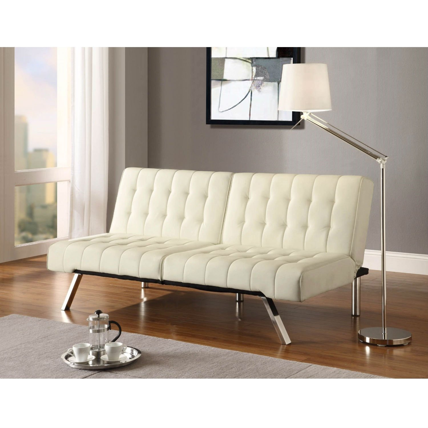 This Split Back Modern Futon Style Sleeper Sofa Bed In Vanilla Faux Leather Is A Versatile Multi Position Split Bac Futon Living Room Leather Futon Futon Sofa