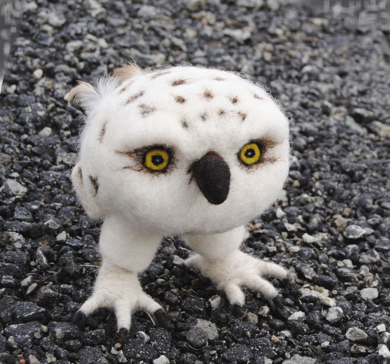 needle felted sculpture baby snowy owl needle felting