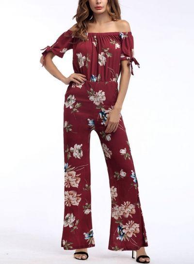 cd6fa8c509 Floral Print Off The Shoulder High Waist Wide Leg Jumpsuit - fashion  jumpsuit  beautiful