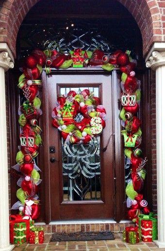 Deco Mesh Door Garland Diy With Glitter Balls Door Decor Handmade Front Door Christmas Decorations Christmas Door Decorations Christmas Decorations Garland