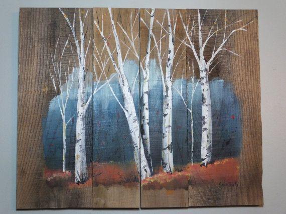 Birch Tree Pallet Painting Distressed Wood Art Rustic