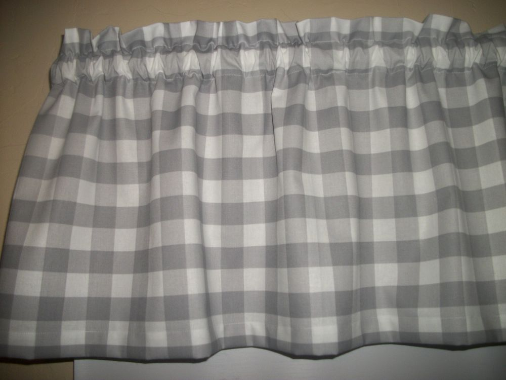 details about gray grey buffalo plaid check farmhouse kitchen fabric curtain topper valance