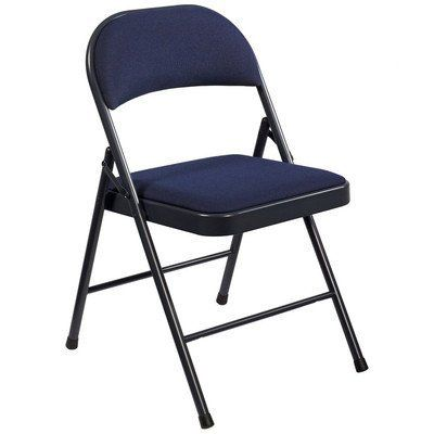 Commercialine Fabric Padded Folding Chair [Set of 4] Color: Blue by National Public Seating. $99.96. One-year manufacturer's warranty included. 2 tack-welded leg braces. 250-lb. weight capacity. 19-gauge steel frame. Single-hinge folding chair with fabric padding. 964 Color: Blue Features: -Single hinge.-Sturdy rounded seat back.-Two tack welded leg braces.-250 lbs Capacity. Construction: -19-gauge steel frame. Collection: -Commercialine collection. Warranty: -1 Year ...