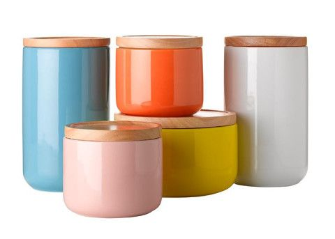 Colorful canisters | Kitchen containers, Jar storage, Kitchen ...