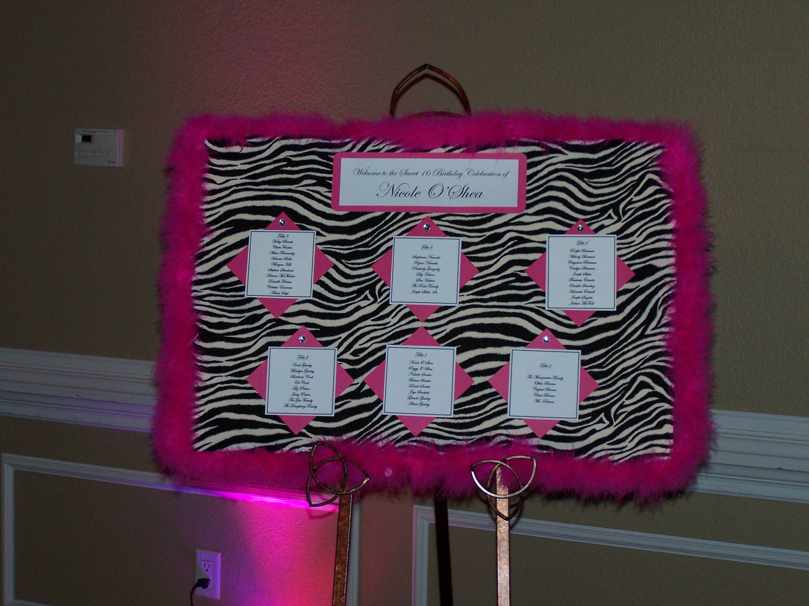 Seating Chart For A Sweet 16 Birthday Party Sweet 16 Birthday Sweet 16 Birthday Party 16th Birthday Party
