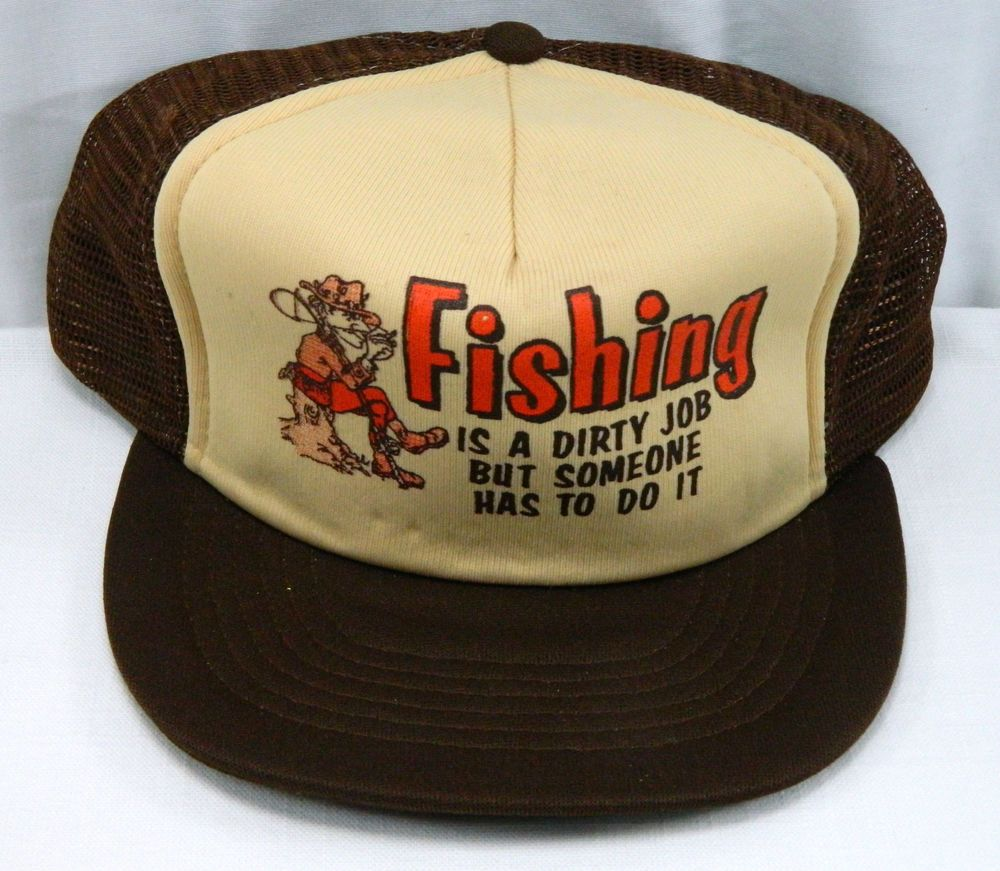 Vintage funny sayings fisherman mesh snap back trucker hat for Fishing hats for sale