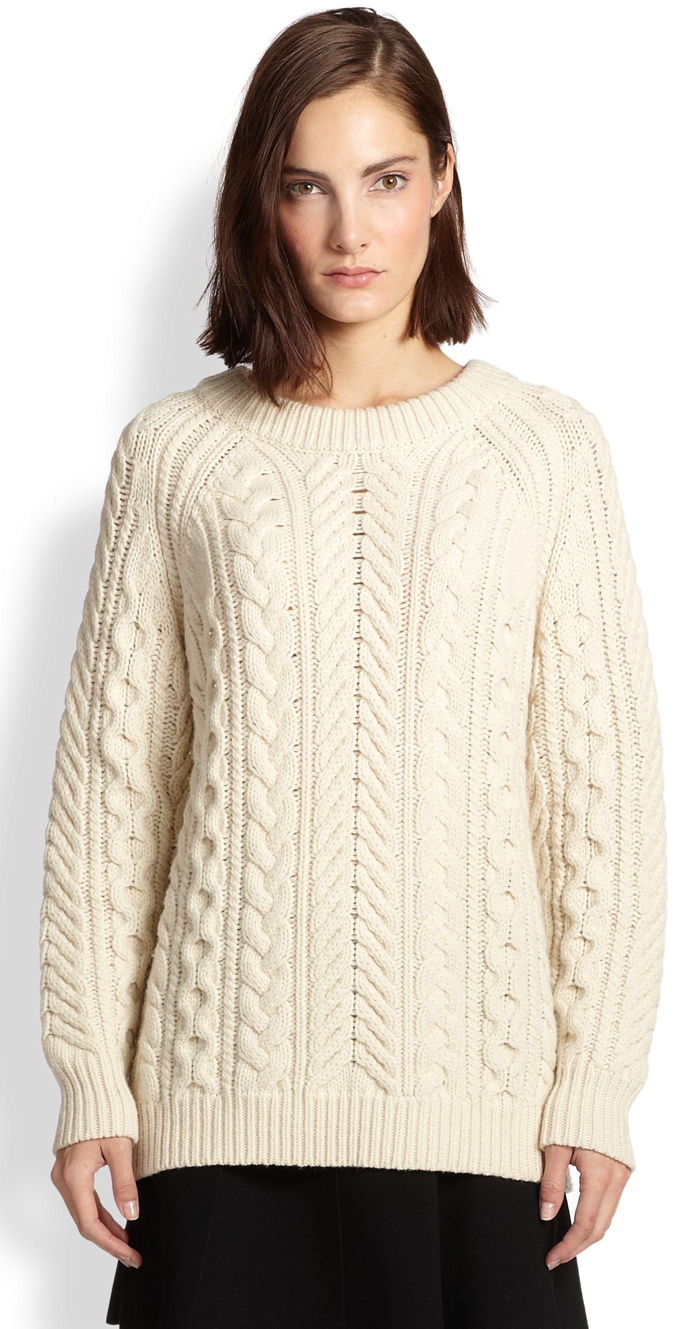Rag&Bone - creme nala cable knit boyfriend pullover | 3A ...