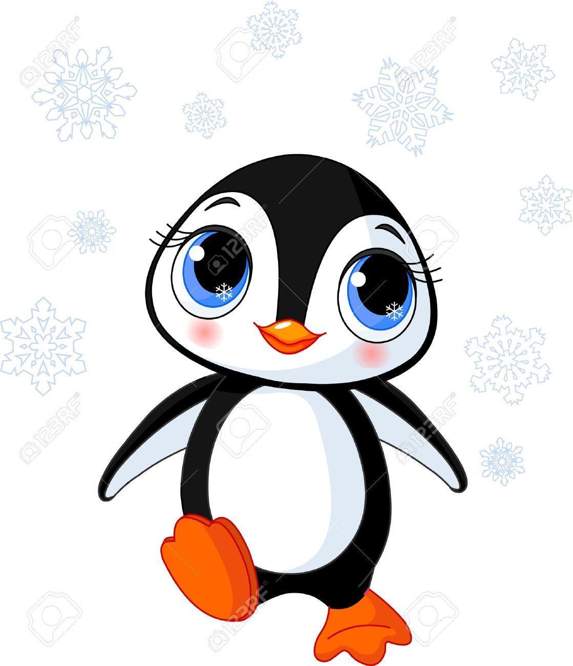 Illustration Of Cute Winter Penguin In Antarctica Royalty ...