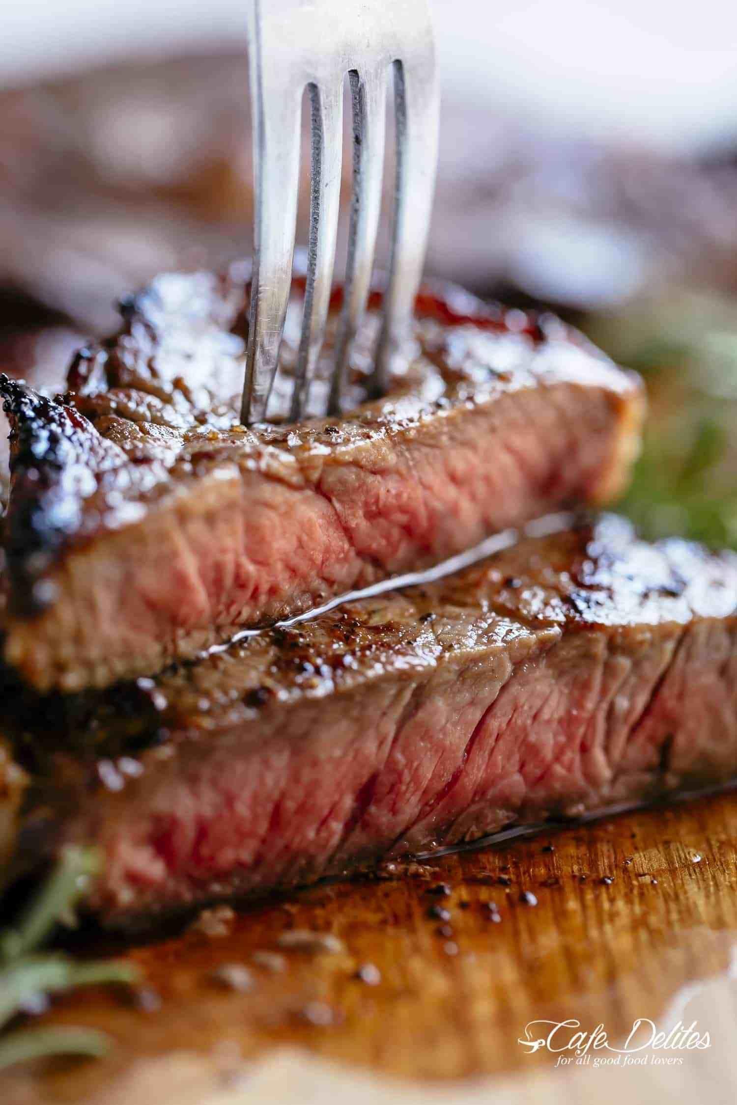 Butter basted steaks medium rare steak