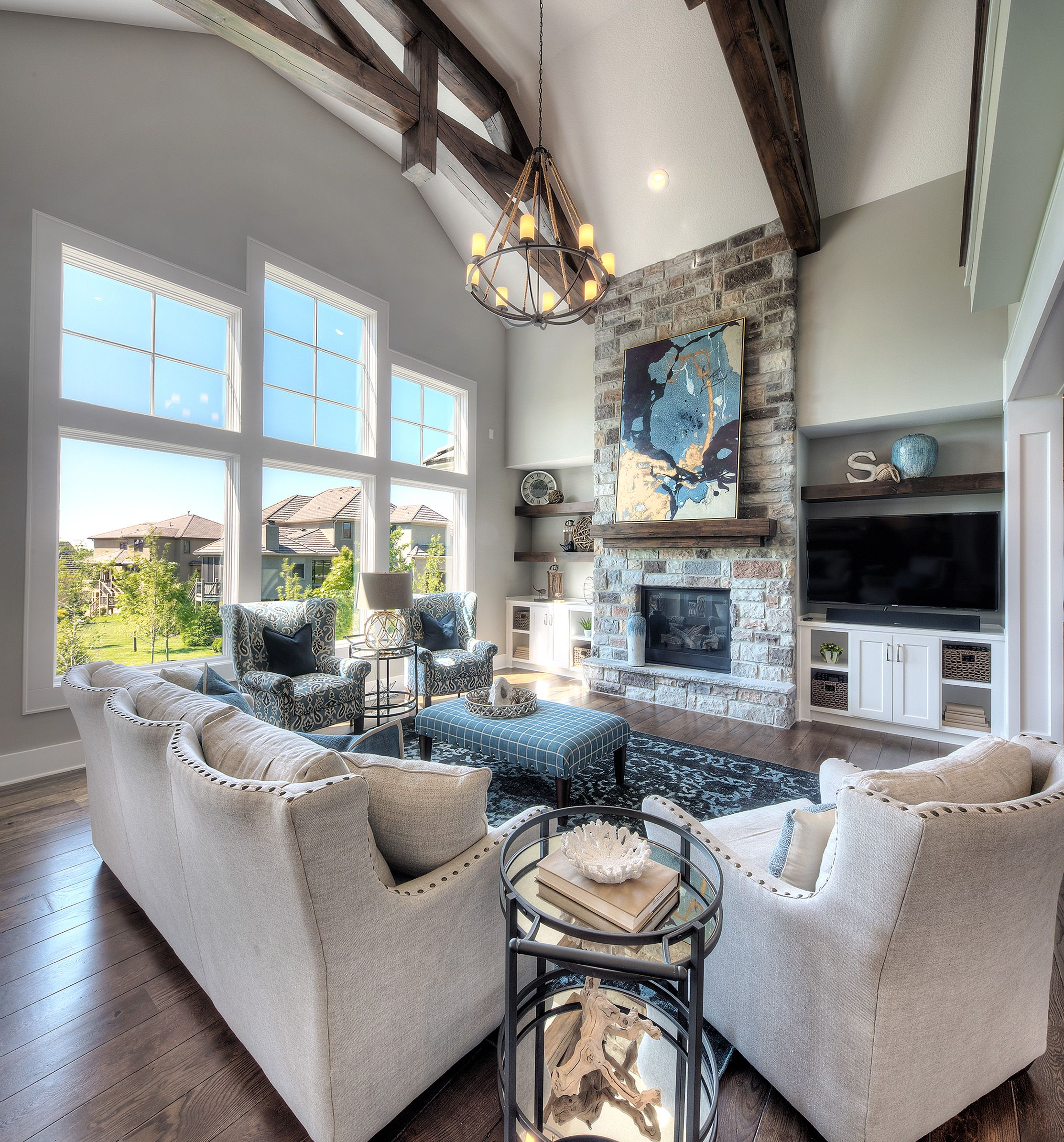 Gray And White Transitional Rustic Living Room With: Living Room, Stone Fireplace, Floor To Ceiling Fireplace