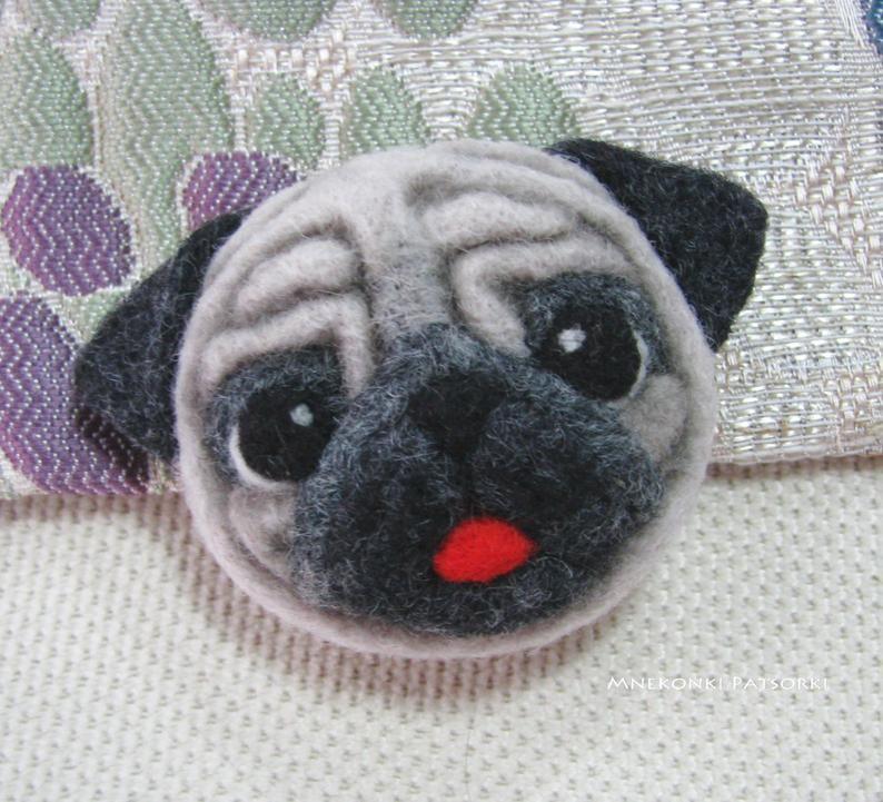 Pug Hand Sewn Wool Felt Pin