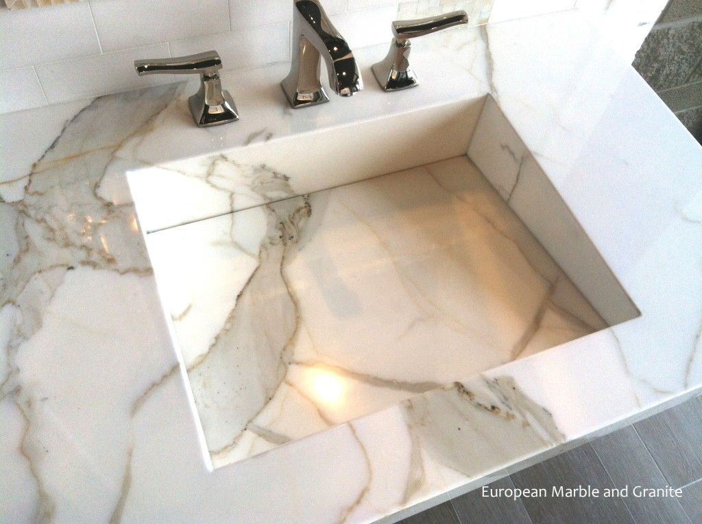 Custom Integrated Calacatta Gold Marble Vanity Sink Built By European And Granite In Salt Lake City