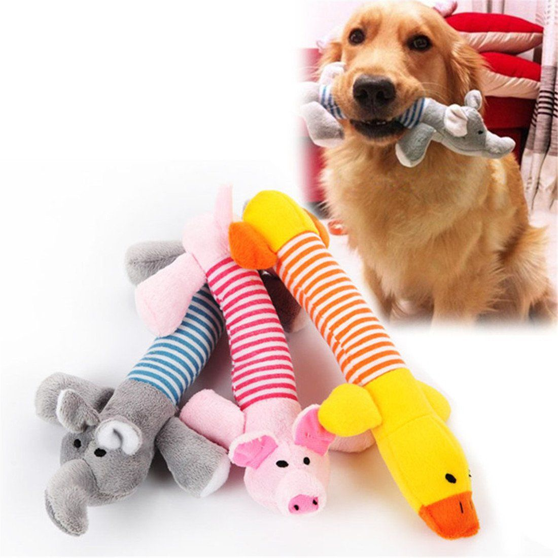 Plush Dog Toys For Aggressive Chewers Squeaky Interactive Dog Toys