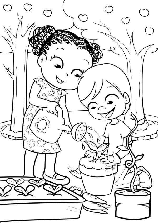 This Two Kids Is Like Gardening Coloring Pages Garden Coloring Pages Coloring Pages Nature Family Coloring Pages