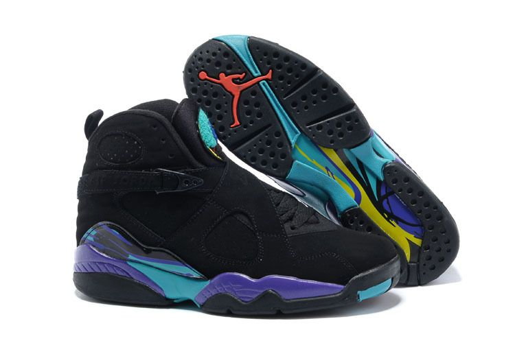 Air Jordan 8 Retro Aqua Black Bright Concord Aquatone Basketball Shoes