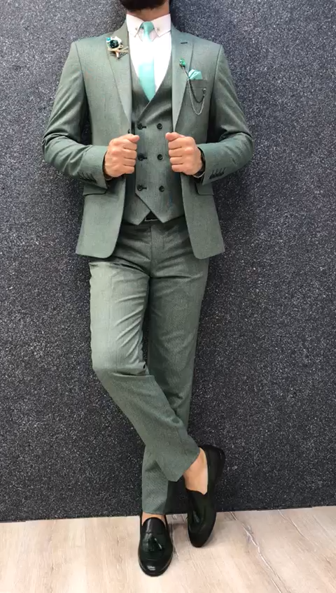Buy Green Slim Fit Wool Suit by GentWith com with Free Shipping