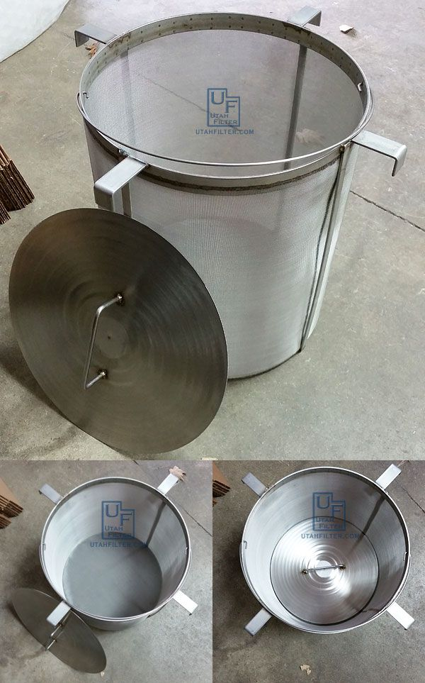 """Brew in a basket for a Blichmann 20 gallon G2 Boilermaker. 14"""" diameter x 16"""" tall 400 micron with press plate. utahcustomfilter.com"""