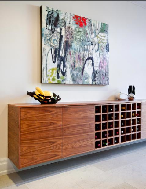 Interior designer Shirley Meisels Mhouse Inc kitchen abstract wall art wine cabinet storage credenza