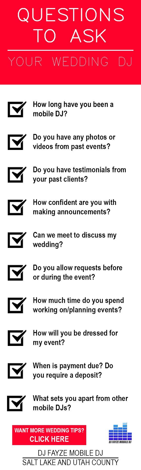 Utah Wedding 10 Questions You Need To Ask Your Wedding Dj Http Www Djfayze Com The Dj Fayze Difference Htm Wedding Dj Wedding Dj Setup Wedding Preparation