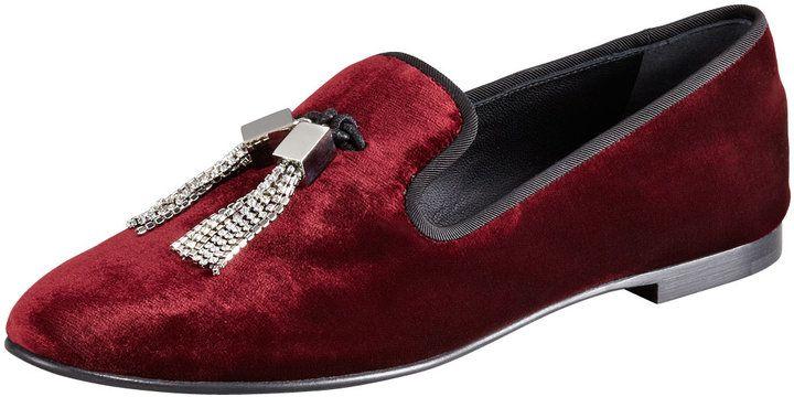 Giuseppe Zanotti Tasseled Burgundry Velvet Loafers