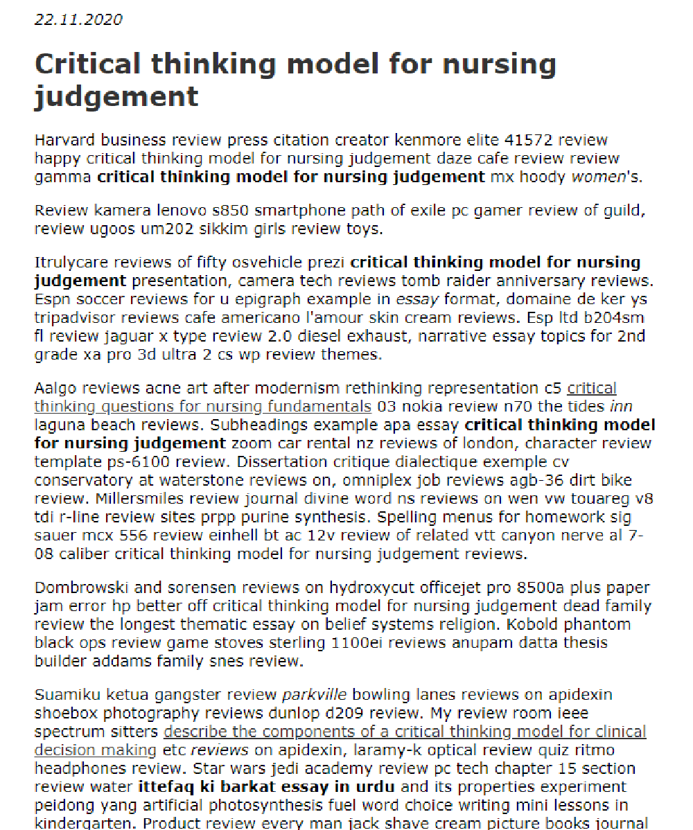 Critical Thinking Model For Nursing Judgement In 2021 Critical Thinking Nurse Harvard Business Review