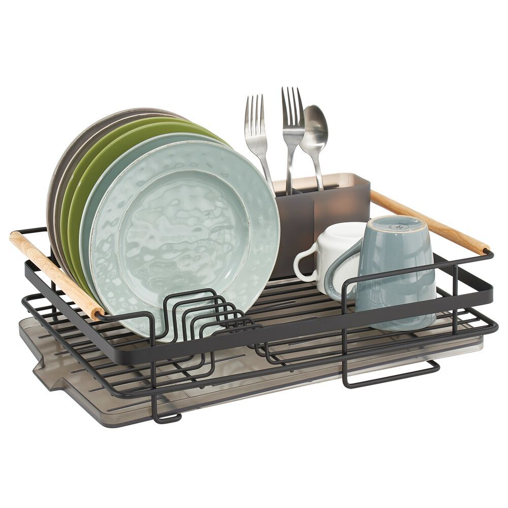 Large Metal Kitchen Sink Dish Drying Rack With Wood Handles Kitchen Dish Drainers Dish Drainers Kitchen Dishes